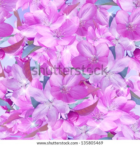Sakura blossom and shine stars. Seamless pattern. - stock photo