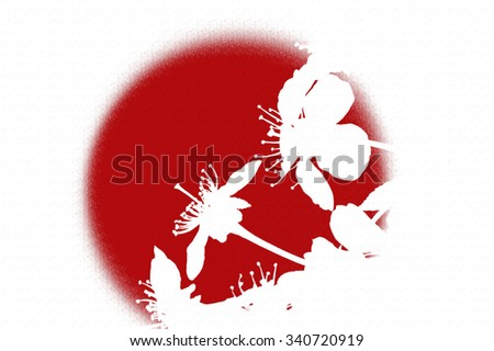Sakura flowers on a background of the red sun. - stock photo