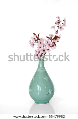 Sakura in a Japanese Vase - stock photo