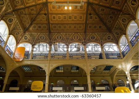 Sala Borsa Library in Bologna. View of the ceiling.