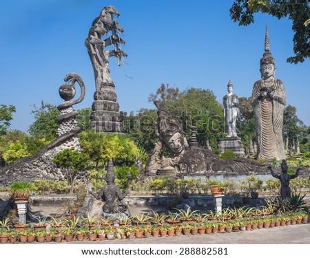 Sala Kaeo Kou (Wat Khaek), near Nong Khai, Thailand. - stock photo