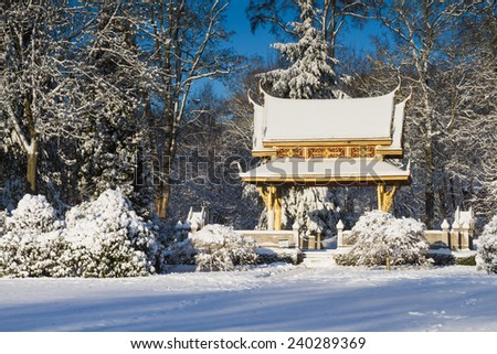 Sala Thai Pavillion in the snow, Bad Homburg, Hesse, Germany - stock photo
