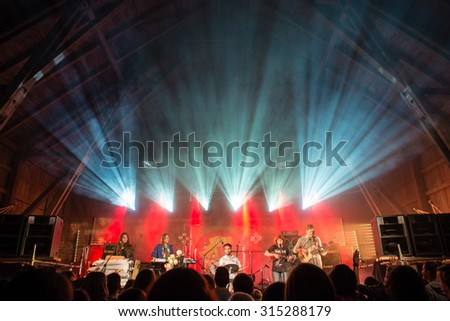 SALACGRIVA, LATVIA - July 31: Band 'Biezoknis' performs on stage during International music festival LABADABA, on July 31, 2015