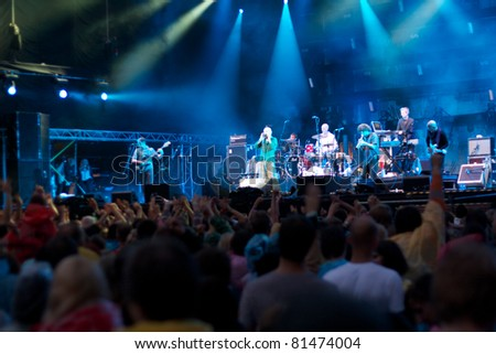 SALACGRIVA, LATVIA - JULY 16: Group JAMES performs on Tele2 stage at Positivus Festival 2011 July 16, 2011 in Salacgriva, LATVIA - stock photo