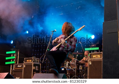 SALACGRIVA, LATVIA - JULY 15: Group PULLED APART BY HORSES performs on Cesu Alus stage at Positivus Festival 2011 July 15, 2011 in Salacgriva, Latvia