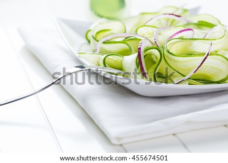salad and juice of fresh cucumber
