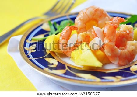 salad appetizer with shrimp and mango - stock photo