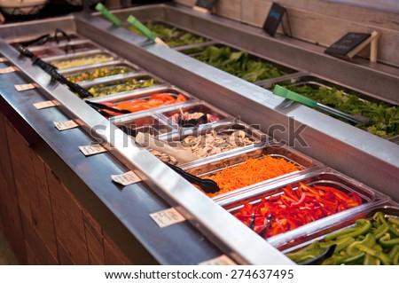Salad Bar at a Restaurant - stock photo