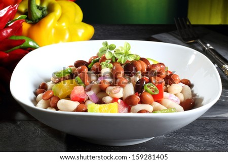 salad beans green background - stock photo