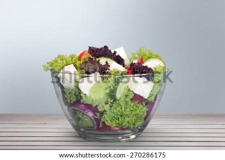 Salad, bowl, white. - stock photo