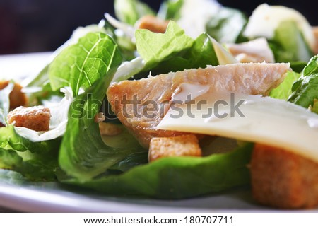 salad ceaser with chicken close up. shallow doff - stock photo
