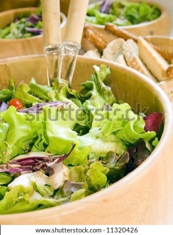 Salad close up containing letucce, arugula, radicchio, mushrooms, cherry tomato, flax and sunflower seeds in a wooden salad bowl. - stock photo