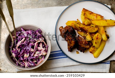 salad Cole slaw  from a red cabbage. American cuisine. style vintage. selective focus. the image is tinted