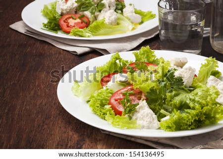 Salad for Diet Recipes with lettuce and homemade cheese