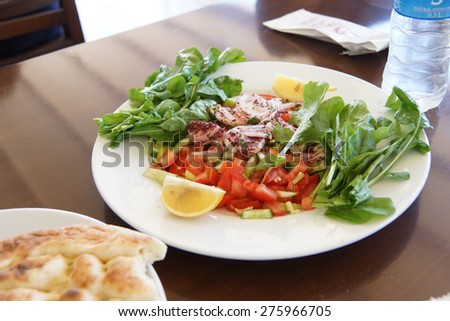 Salad for lunch with sumak, Antalya,  Turkey - stock photo