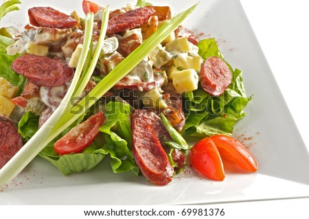 Salad from fried sausages cut with slices, tomatoes, leaves of salad with sauce from olive oil of balsam vinegar on a light plate. A shot horizontal, focus in the center a shot. - stock photo
