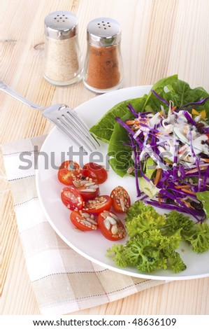 salad in a plate with kitchen background - stock photo