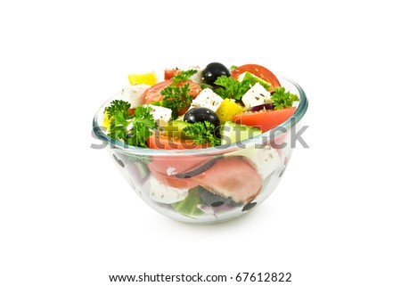 salad in bowl isolated on white - stock photo