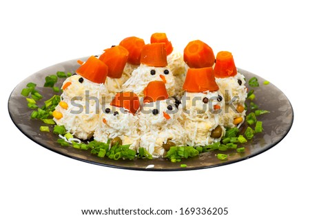 salad in the form of snowmen - stock photo