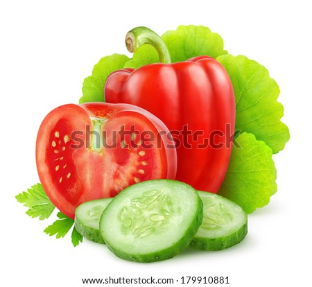 Salad ingredients, cut fresh vegetables over white background