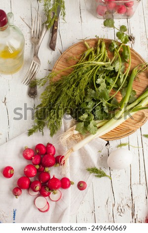 Salad ingredients of fresh bunch Green onion, radish, fennel and dill onto a white old wooden table.  Natural food of garden. Concept image for healthy or vegetarian cooking.  - stock photo
