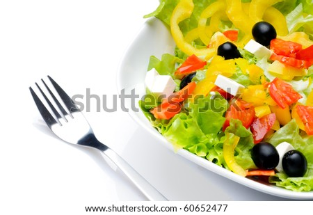 Salad isolated over white