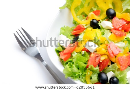 Salad isolated over white - stock photo