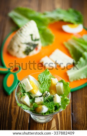 salad lettuce with boiled egg and cheese suluguni - stock photo