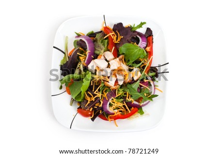Salad, Lettuces, mizuna, onion for background - stock photo