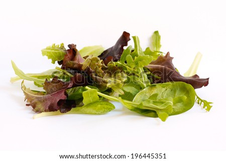 salad mix colorful leaves isolated on white background - stock photo