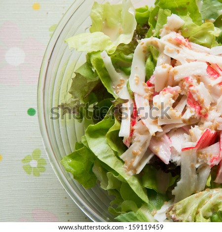 salad mix with fresh vegetable  and crab stick