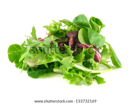 Salad mix with rucola, frisee, radicchio and lamb's lettuce. Isolated on white background.