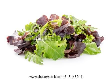 Salad mix with rucola, frisee, radicchio and lamb's lettuce. Isolated on white background. - stock photo