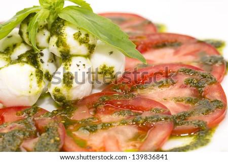 salad of arugula and tomato meat - stock photo