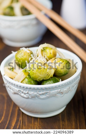 Salad of Brussels sprouts with squid