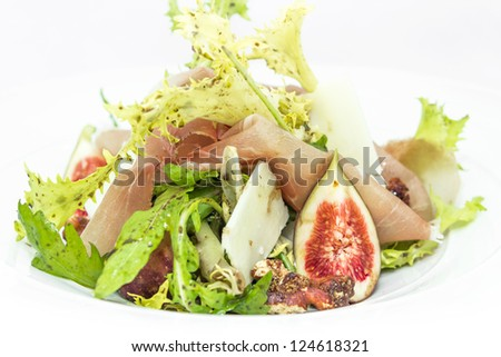 Salad of Chicory Walnuts, cheese  parma ham and fig