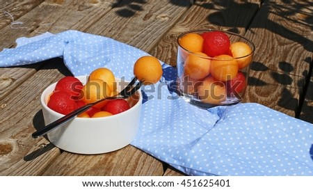 salad of melon and watermelon - stock photo