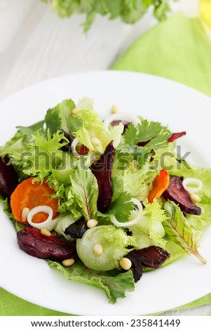Salad of roast beetroot, orange  and pine nuts
