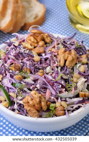 salad of shredded red cabbage with nuts in milk sauce - stock photo