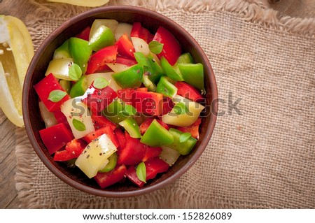 salad of sweet colorful peppers with olive oil - stock photo