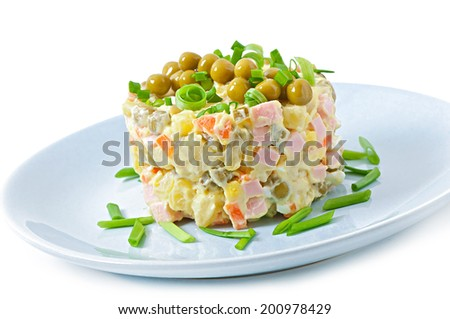 Salad Olivier - russian traditional salad - stock photo