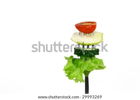 Salad on a fork - stock photo
