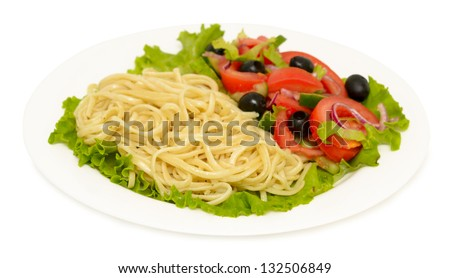salad on a plate isolated on white background - stock photo