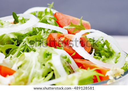 salad on a white wooden table