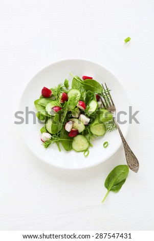 salad on plate top view, summer food - stock photo