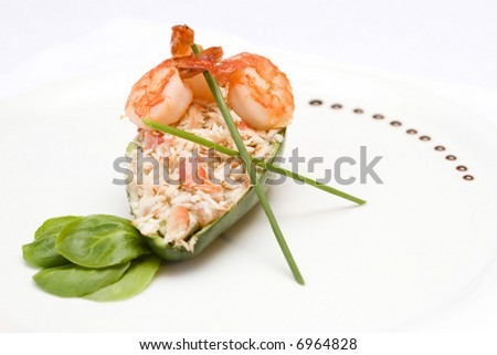 salad or apetizer with shrimp and avocado - stock photo