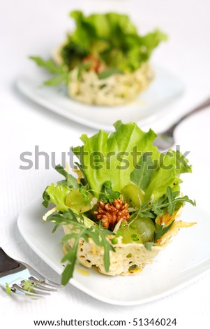 salad- parmesan, walnut and arugula baskets