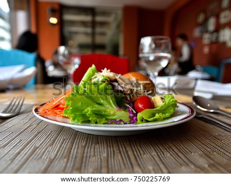 Salad plate in restaurant