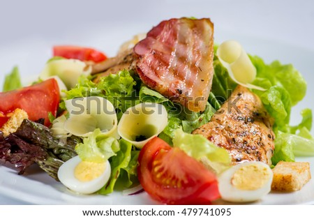 salad plate on a white background for the menu