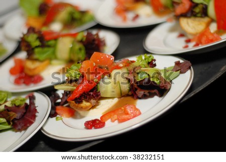 salad plates at restaurant